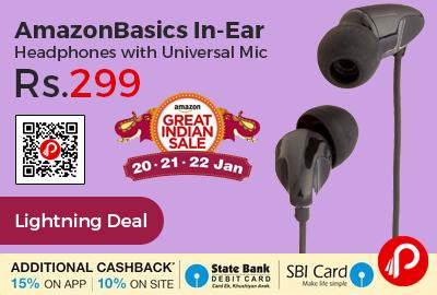 AmazonBasics In-Ear Headphones with Universal Mic