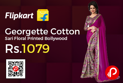 Georgette Cotton Sari Floral Printed Bollywood