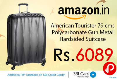 American Tourister 79 cms Polycarbonate Gun Metal Hardsided Suitcase