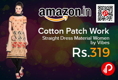 Cotton Patch Work Straight Dress Material Women