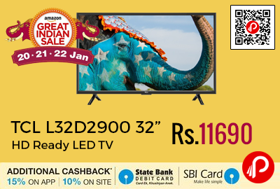 "TCL L32D2900 32"" HD Ready LED TV"
