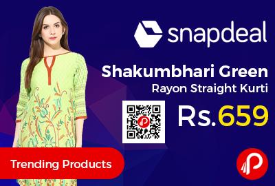 Shakumbhari Green Rayon Straight Kurti