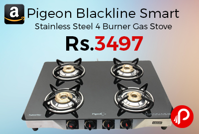 a07a49a233e Pigeon Blackline Smart Stainless Steel 4 Burner Gas Stove at Rs.3497 Only –  Amazon