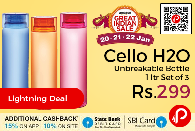Cello H2O Unbreakable Bottle 1 ltr Set of 3