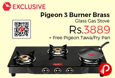Pigeon 3 Burner Brass Glass Gas Stove
