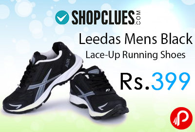 Leedas Mens Black Lace-Up Running Shoes