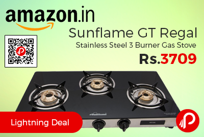 Sunflame GT Regal Stainless Steel 3 Burner Gas Stove