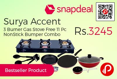 Surya Accent 3 Burner Gas Stove Free 11 Pc NonStick Bumper Combo