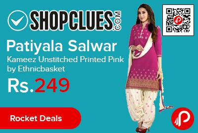 Patiyala Salwar Kameez Unstitched Printed Pink