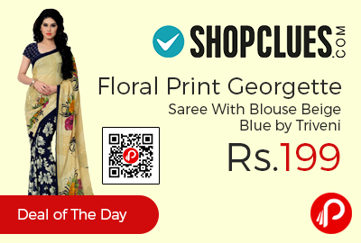 Floral Print Georgette Saree With Blouse Beige Blue
