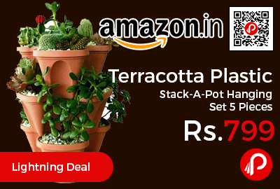 Terracotta Plastic Stack-A-Pot Hanging Set 5 Pieces