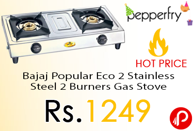 Bajaj Popular Eco 2 Stainless Steel 2 Burners Gas Stove