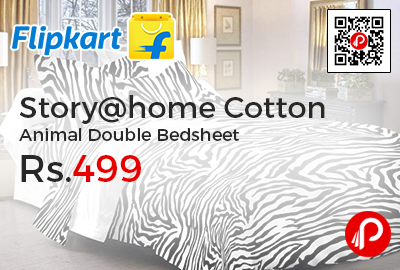 Story@home Cotton Animal Double Bedsheet
