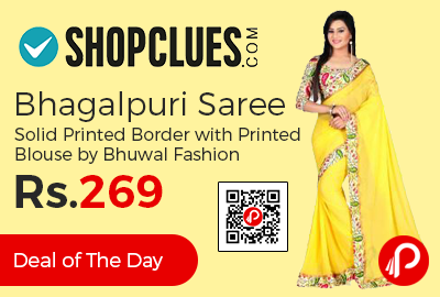 Bhagalpuri Saree Solid Printed Border with Printed Blouse