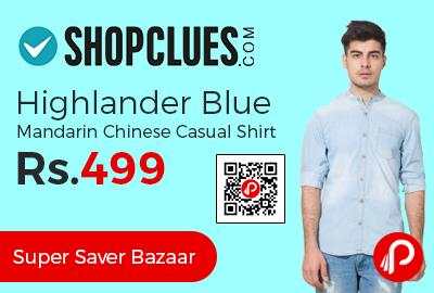 Highlander Blue Mandarin Chinese Casual Shirt