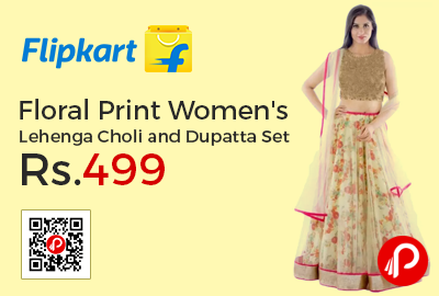 Floral Print Women's Lehenga Choli and Dupatta Set