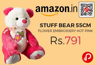 Stuff Bear 55cm Flower Embroidery Hot Pink