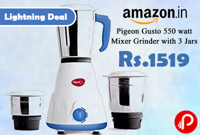 Pigeon Gusto 550 watt Mixer Grinder with 3 Jar