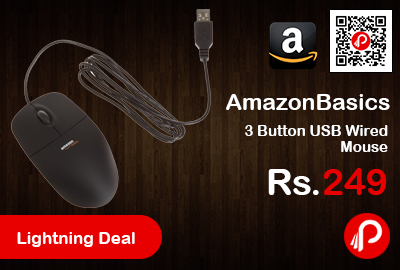 82809c8d87e AmazonBasics 3 Button USB Wired Mouse at Rs.249 Only – Amazon