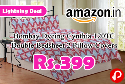 Bombay Dyeing Cynthia 120TC Double Bedsheet 2 Pillow Covers