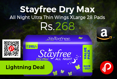 Stayfree Dry Max All Night Ultra Thin Wings XLarge 28 Pads
