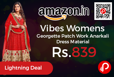 Vibes Womens Georgette Patch Work Anarkali Dress Material