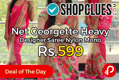 Net Georgette Heavy Designer Saree Nylon Mono