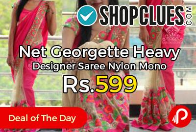 Net Georgette Heavy Designer Saree Nylon Mono