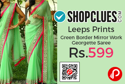 Leeps Prints Green Border Mirror Work Georgette Saree