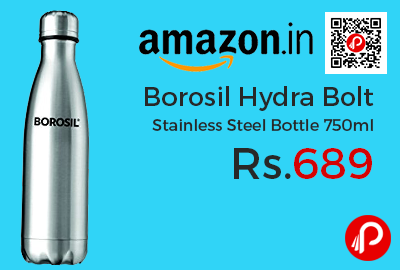 Borosil Hydra Bolt Stainless Steel Bottle 750ml