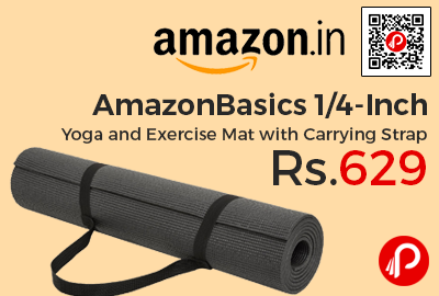 AmazonBasics 1/4-Inch Yoga and Exercise Mat with Carrying Strap