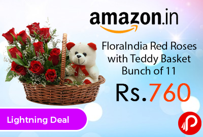 FloraIndia Red Roses with Teddy Basket Bunch