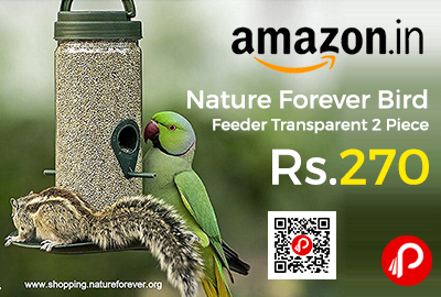 Nature Forever Bird Feeder Transparent 2 Piece at Rs.270 Only - Amazon