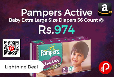 Pampers Active Baby Extra Large Size Diapers 56 Count @ Rs.974 Only - Amazon