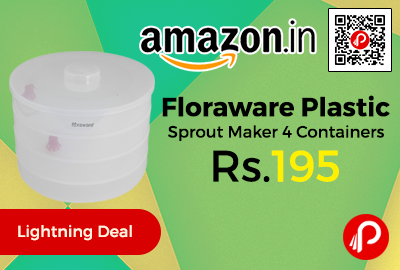 Floraware Plastic Sprout Maker 4 Containers at Rs.195 Only - Amazon