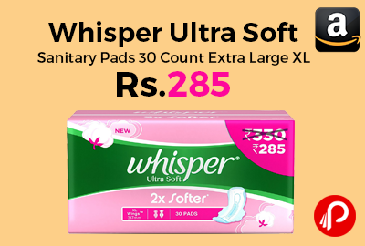 Whisper Ultra Soft Sanitary Pads 30 Count Extra Large XL