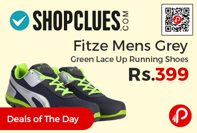 Fitze Mens Grey Green Lace Up Running Shoes