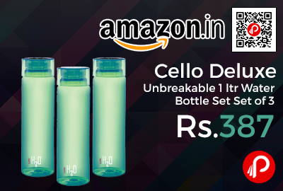 Cello Deluxe Unbreakable 1 ltr Water Bottle Set Set of 3