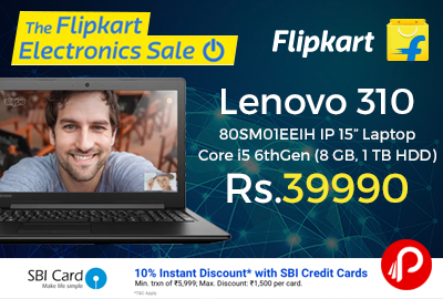 "Lenovo 310 80SM01EEIH IP 15"" Laptop Core i5 6thGen"
