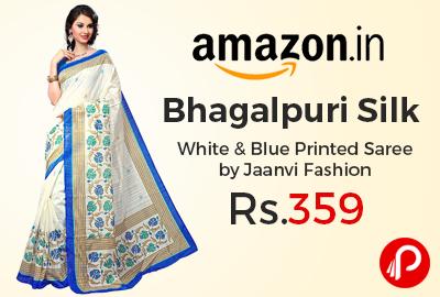 Bhagalpuri Silk White & Blue Printed Saree