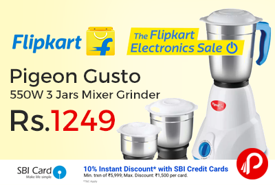 Pigeon Gusto 550W 3 Jars Mixer Grinder