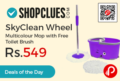 SkyClean Wheel Multicolour Mop with Free Toilet Brush