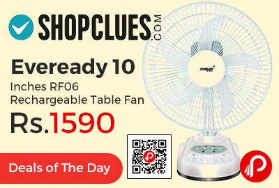 Eveready 10 Inches RF06 Rechargeable Table Fan