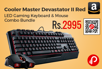 Cooler Master Devastator II Red LED Gaming Keyboard & Mouse Combo Bundle