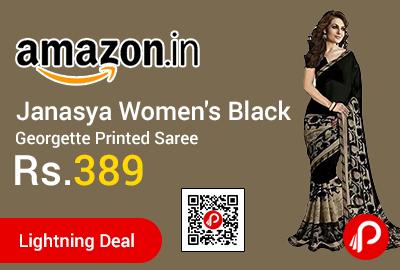 Janasya Women's Black Georgette Printed Saree