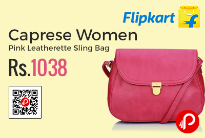 1e65a7cae Caprese Women Pink Leatherette Sling Bag at Rs.1038 Only – Flipkart