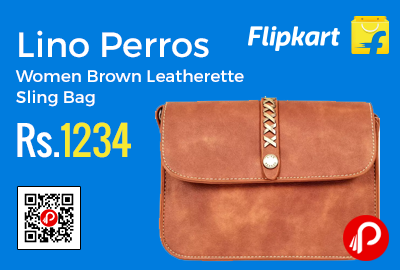 9c07a00ed Lino Perros Women Brown Leatherette Sling Bag at Rs.1234 Only – Flipkart