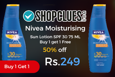 Nivea Moisturising Sun Lotion SPF 30 75 ML Buy 1 get 1 Free at Rs.249 Only - Shopclues