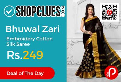 Bhuwal Zari Embroidery Cotton Silk Saree