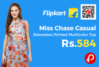 Miss Chase Casual Sleeveless Printed Multicolor Top